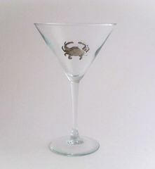 Martini Glass with Pewter Crab