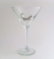 Martini Glass with Pewter Alligator