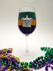 Mardi Gras Wine Glass Soy Candle with Pewter Crown Accent