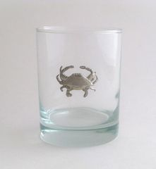 Rocks Glass with Pewter Crab