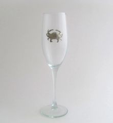 Flute Glass with Pewter Crab