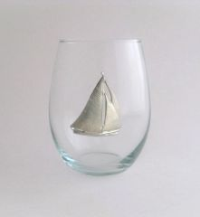 Stemless Wine Glass with Pewter Sailboat