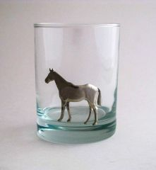 Rocks Glass with Pewter Horse