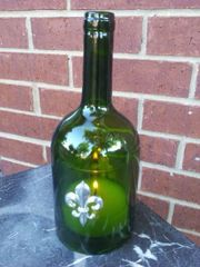 Wine Bottle Candle Cover with Pewter Fleur de Lis