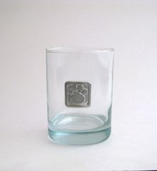 A Rocks Glass with a Pewter Paw Print