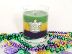 Mardi Gras Soy Candle with Pewter Crown Accent