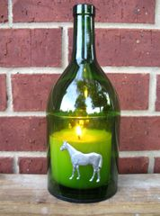 Wine Bottle Candle Cover with Pewter Horse