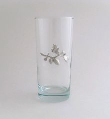 Beverage Glass with Pinecone Branch
