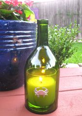 Wine Bottle Candle Cover with Pewter Crab
