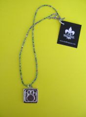 Paws for a Cause Blue Tones Beaded Necklace with Pewter Paw Print