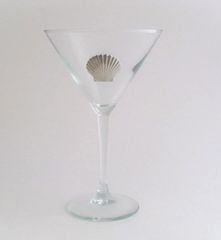Martini Glass with Pewter Clam