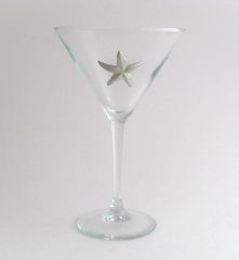 Martini Glass with Pewter Starfish