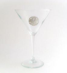 Martini Glass with Pewter Sand Dollar