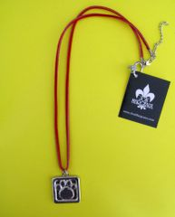 Paws for a Cause Red Leather Cord (.25 mm) Necklace with Pewter Paw Print