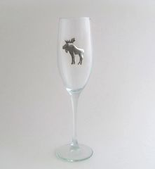 Flute Glass with Pewter Moose