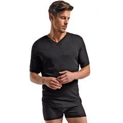 Soft Black Rib Knit T-Shirt in S