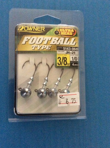 Owner Ultra Football Heads 3/8oz 1/0 4pc's