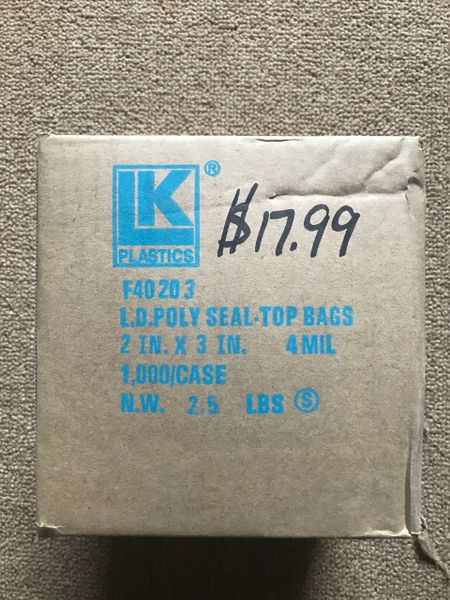 "Case 1000 2""x3"" 4 mil Top Seal storage Bags"