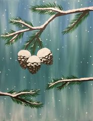 "Fri - Dec 14 | 6:30 "" Snowy Pine Cones"""