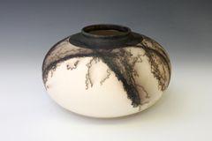 Horse Hair Fired Round Vase