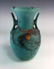 Horse Hair Teal Vase with Copper Wire Accents.