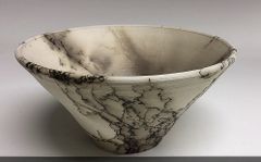Hand-thrown horse hair fired bowl