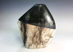 Horse Hair Fired Diamond Vase with Glaze