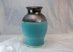 Custom Large Teal and Bronze Horse Hair Vase