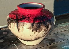 Large Red Horse Hair Vase