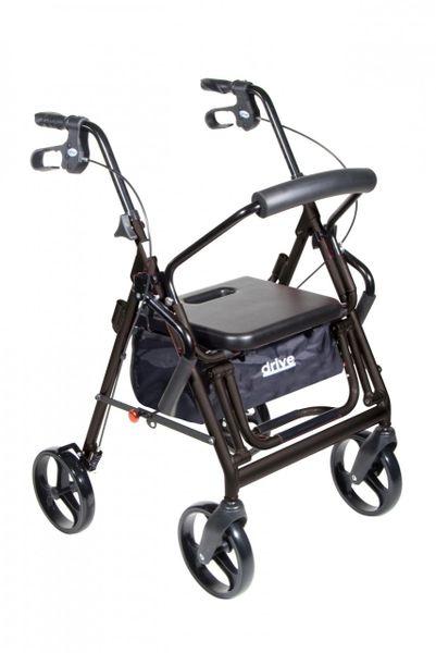 Duet Black Transport Wheelchair Rollator Walker - 795bk