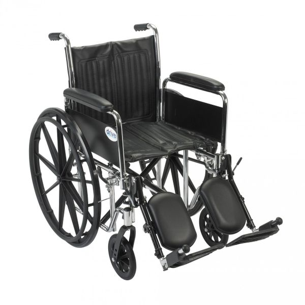 Chrome Sport Wheelchair with Detachable Full Arms and Elevating Leg Rest - cs16dfa-elr
