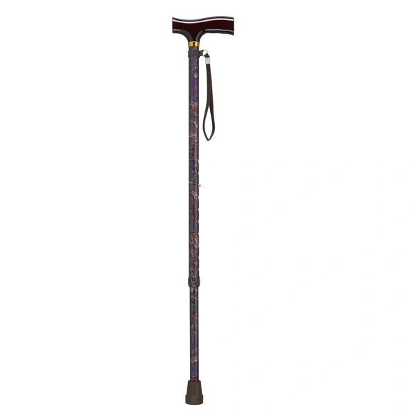 "Adjustable Lightweight Paisley Black ""T"" Handle Cane with Wrist Strap - 10335pb-1"