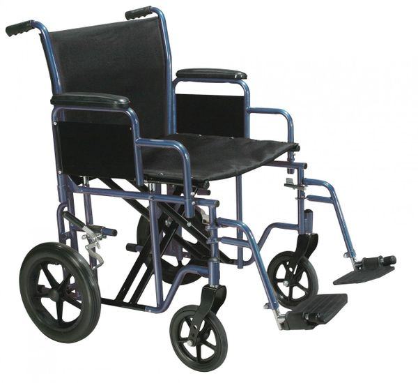 Bariatric Heavy Duty Blue Transport Wheelchair with Swing Away Footrest - btr22-b