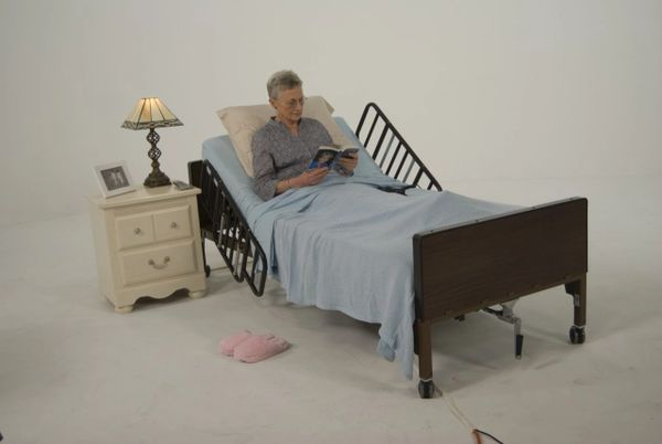 No Gap Half Length Side Bed Rails with Brown Vein Finish - 15201bv