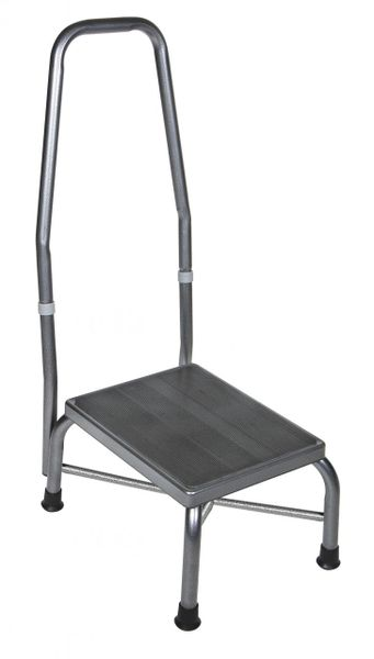 Heavy Duty Bariatric Footstool with Non Skid Rubber Platform and Handrail - 13062-1sv
