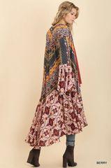 Berry Ruffled Long Body Bell Sleeve Kimono (T171)