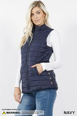 Navy Quilted Puffer Vest (SDB487)