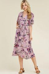 Lavender Floral V Neck Self Tie Midi Dress (D336)