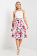 Pink Floral Flare Skirt with front wrap (P5)