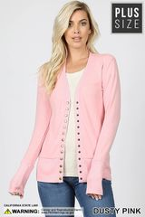 Dusty Pink Snap Button Plus Size Cardigan (PS26)