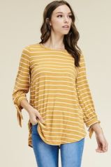 Mustard/Ivory Striped 3/4 Sleeve with tie Top (T989)