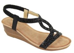 Black Rhinestone Low Wedge Sandals (SDB25)