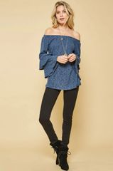 Denim Blue Off Shoulder Brushed Knit Ruffle Sleeve Top (SDB224)