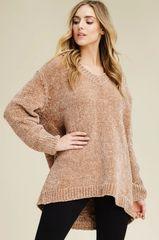 Camel V Neck Chenille Sweater (T102)