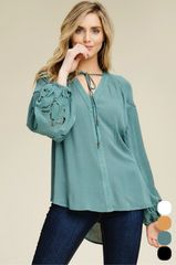 Dark Sage Woven Boho Lace Trim Top (T105)