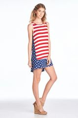 American Flag Print Sleeveless Dress with Side Detail (SDB86)