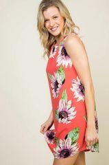 Coral Sunflower Sleeveless Dress (D11)