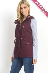 Plus Size Mulberry Fur Lined Vest w/Hood (SDB248)