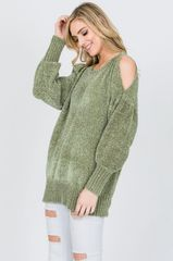 Olive Chenille Cold Shoulder Sweater (T112)