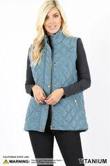 Americana Brown/Dark Plum/Magenta/Titanium Blue Quilted Puffer Vest (SDB477)